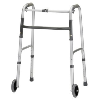 "Nova Standard Folding Walker w/5"" Wheels - Adult"
