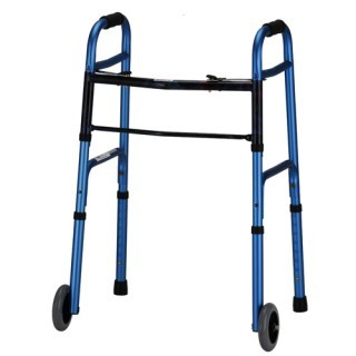 Nova Dual Button Release Folding Walker w/5 in Wheels - Adult