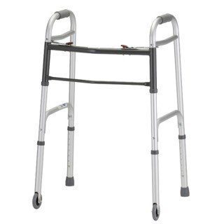 "Nova Dual Button Release Folding Walker w/3"" Wheels - Adult"