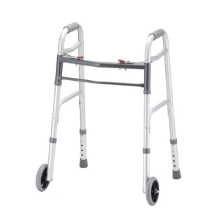 "Nova Dual Button Release Folding Walker w/5"" Wheels - Petite"