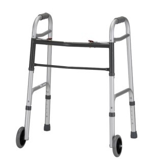 "Nova Dual Button Release Folding Walker w/5"" Wheels - Small"