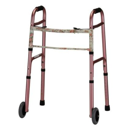 Nova Folding Walker with 5 inch Wheels - Pink with Floral Print