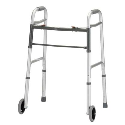 Nova Folding Walker with 5 inch Wheels & Dual Button Release